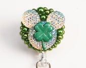 St. Patrick's Day Mickey Shimmery Iridescent ID Badge Reel - Retractable ID Badge Holder - Zipperedheart