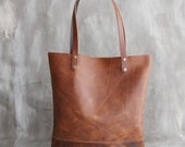 Copper Brown Leather Tote