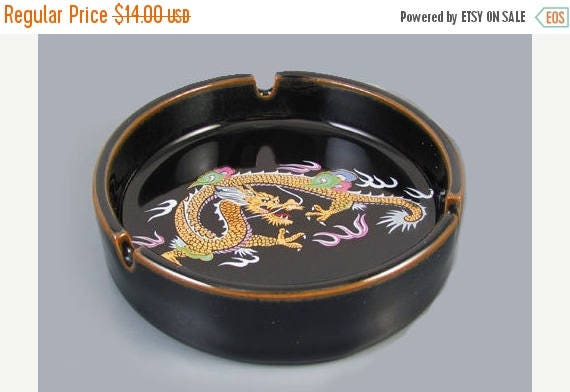 SPRING CLEANING SALE Vintage mid century signed Otagiri Omc Japan black ceramic enamel ashtray with colorful dragon / smoking / tobacciana /