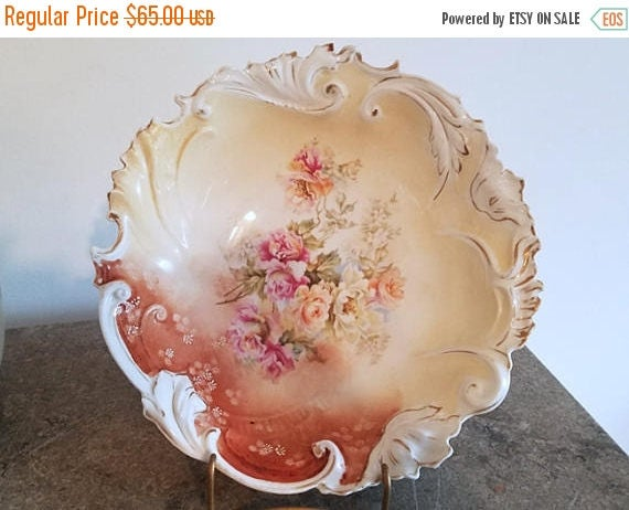 SPRING CLEANING SALE Antique Edwardian large hand painted bowl roses / flowers