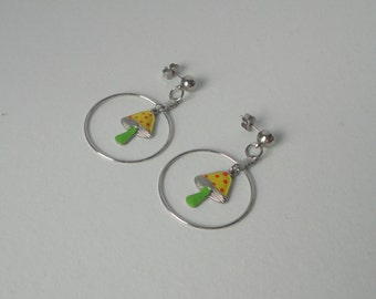 Silver tone with Enameled MUSHROOM Dangle Earrings. Pierced Ear Earrings.