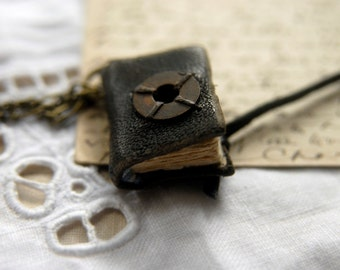Words Awash - Miniature Wearable Book, Tea Stained Pages, Tiny Old Washer, OOAK