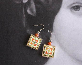 Portugal Antique Azulejo Tile Replica SILVER FRAMED Earrings  Nazare and Ericeira - Gift Box Included 1555