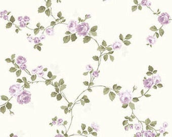 Dollhouse Miniature Small Scale Computer Printed Fabric Purple Roses Floral