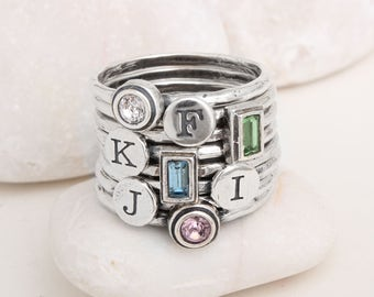 Mother's Day Gift. Create your own Mother's Day Ring! Stackable Birthstones Rings and Initials Rings in Silver. Personalized Family Ring!