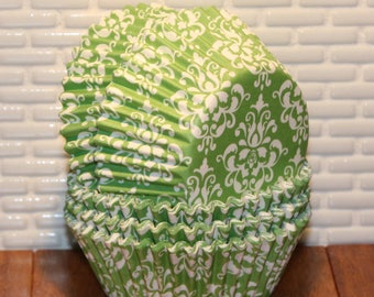 Lime Green Damask Cupcake Liners  (Qty 45)  Green Damask Cupcake Liners, Damask Cupcake Liners, Lime Green Damask Muffin Cups