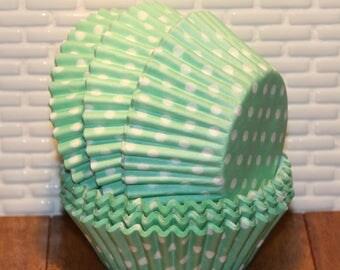 Mint Green Polka Dots Cupcake Liners  (Qty 45)  Mint Green Polka Dot Baking Cups, Mint Green Baking Cups, Mint Green Muffin Cups