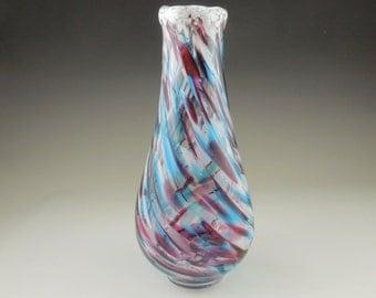 Glass Vase - Venetian Glass -  Glassblowing - Glass Blown - Hand blown Vase - Fused Glass - Flower Vase - Red White Blue Vase 745