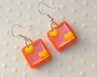 Heart Earrings, Dichroic Fused Glass Earrings, Valentine Earrings, Fused Glass, Dangle Earrings. Gift For Her, Spring Jewelry X3367