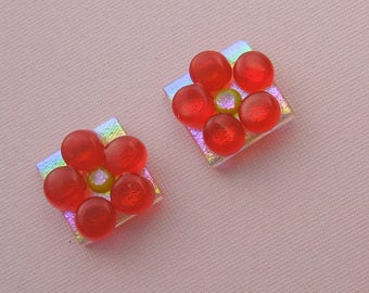 Red Flower Earrings, Beach Earrings, Gardener Gift, Dichroic Fused Glass Earrings, Stud Earrings, Post Earrings, Beach Glass 1067