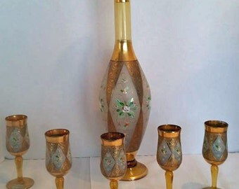Lovely Italian Made Amber Glass Decanter and Cordial Glass Set