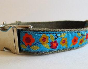 Orange Poppy Flowers Cotton Webbing Dog Collar with Metal Buckle - Large