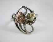 Size 7 1/2 Vintage Tri Color Black Hills Gold Two Leaf Sterling Silver Ring