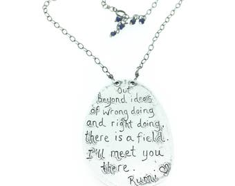 silver rumi quote necklace . sterling silver inspirational quote jewelry . sterling silver statement necklace . ready to ship peacesofindigo
