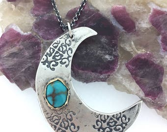 turquoise moon necklace . sterling silver crescent moon necklace . turquoise talisman necklace . long statement necklace . peacesofindigo