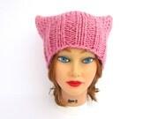 Knit Cat Hat - Petal Pink Pussy Hat - Women's Cat Hat - Chunky Cat Beanie - Wool Blend Hat - Knit Accessories