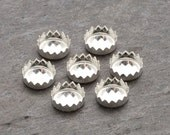 6mm - FOUR Round Sterling Silver Serrated Bezel Cups for Cabochons