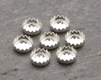 4mm - FOUR Round Sterling Silver Serrated Bezel Cups | Round Serrated Bezel Cup | 4mm Sterling Bezel Cup | Serrated Sterling Bezel Cup