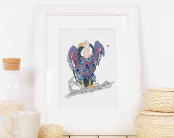 Vulture- limited edition print from original // Home Decor // 13 x19, 11 x 14, 8 x 10, 5 x 7