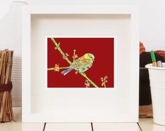Chickadee - Asian-styled Art Print - Red Bird Art - Boho Red - Open Edition Print - 13 x 19, 11 x 14, 8.5 x 11, 8 x 10, 5 x 7
