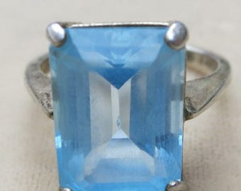 Aqua Marine and Sterling Silver Ring in a Size 7.5