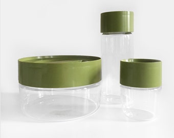 Pyrex See N' Store Glass Containers in Olive Green - Set of 3
