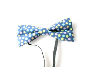 Pastel Polka Dots Elastic Bow Tie