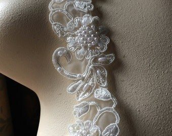 Ivory Beaded Lace Trim for Bridal, Headbands, Garters, Veils, Costumes BL  108