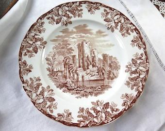 "Antique Brown Transferware Dinner Plate by Copeland Melrose Ruins Circa 1870  10.25"""