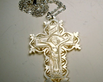 Bethlehem Mother of Pearl Carved Crucifix on Silver Chain Necklace, 1970s, Religious Christian Jesus Christ Symbol, Israel