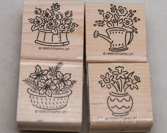 Stampin Up Rubber Stamps, 1999 Retired Set 4 Stampin Up Stamps Bitty Bouquets, Wood Mounted Stamp Sets for Greating Cards and Scrapbooking