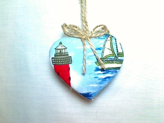Seashell & Beads on Nautical Heart Ornament  Holidays  Tree Ornament  Christmas Ornament  Party Favor  Valentine's Day   Nautical Decor  #2