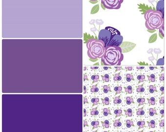 Baby Girl Crib Bedding Purple Lavender Ruffled Floral