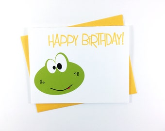 Cute Birthday Card for Kids, Happy Birthday Card, Frog Card, Boys Birthday Card, Cute Animal Card, Green Frog Party, Kids Birthday Card