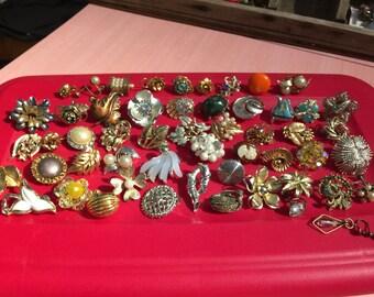 52 Vintage Clip Earrings for Wearing or Art