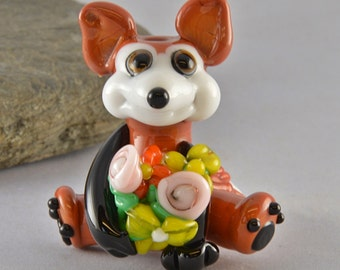 Wolf with Flowers Focal Bead,  Lampwork Glass Bead, Glass Sculpture Collectible, Focal Bead, Izzybeads SRA