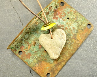 Ocean love..... a naturally sea shaped Maine heart  sea stone necklace pendant on an adjustable natural leather cord eco friendly gift