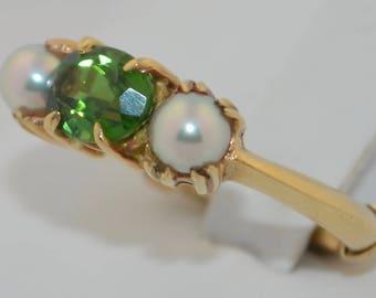 Vintage 14K Green Tourmaline & Pearl Ring