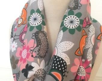 Girls Tween Gray woodlands print Infinity Scarf- Teens Tweens - 100% Cotton Jersey Fabric - Fall Winter Fashion Accessory