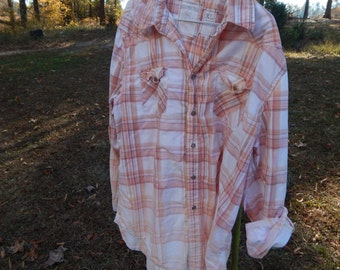 Distressed plaid Aeropostale shirt - bleached dipped splattered recycled- peach tan - Size XL (men's / unisex) (S34)