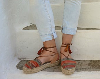 Espadrille Sandals. Lace up Espadrilles in Orange. Boho Women's Sandals. Hippie Greek Sandals. Gift for Her