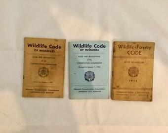 Missouri, Wildlife Code, Books, Hunting, Fishing, 1946, 1956, 1961