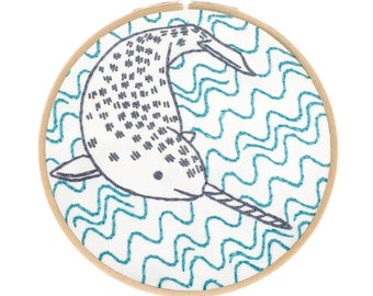 NARLY NARWHAL embroidery kit - hand embroidery kit, diy kit, sea creature, unicorn of the sea embroidery by StudioMME