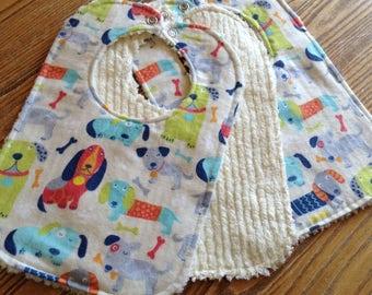 Flannel & Chenille Baby Bib, Snap Closure,Dogs