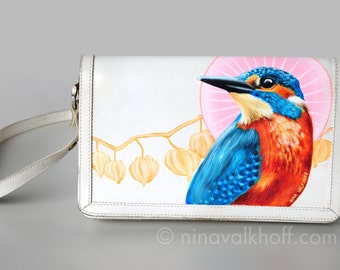 Vintage leather bag 'Kingfisher Emperor', hand-painted!