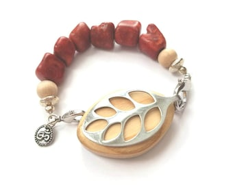 Bellabeat Leaf activity tracker bracelet ACCESSORY Red coral with sandal wood and 925 sterling silver beads and tree charm