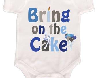 Boys Birthday Bodysuit Cake Smash Outfit Boys 1st Birthday Romper Blue Grey Bring on the Cake Mumsy Goose First Birthday