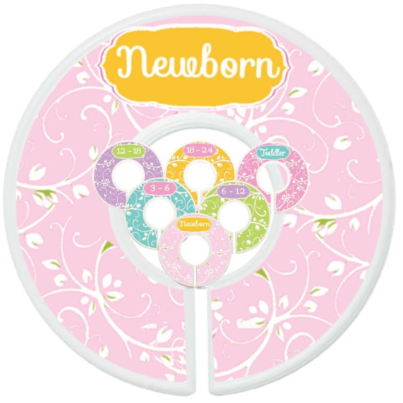 Baby closet dividers 6 clothes sizes closet organizers girl for Baby clothes size organizer