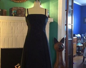 Vintage Rickie Freeman for Teri Jon Nites Black Beaded Tea Length Gown, Size XS/S,
