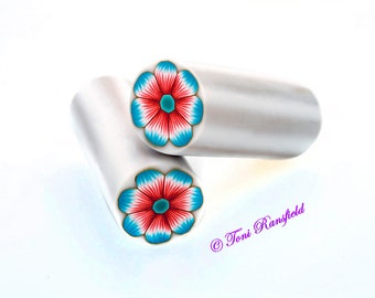 Coral and Turquoise Flower Polymer Clay Cane, Raw polymer Clay Cane, Millefiori Polymer Clay